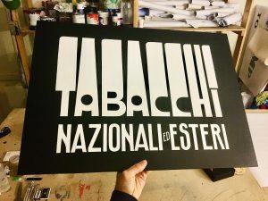 ricCarlo Destefani - Insegna tabacchi vintage dipinta a mano